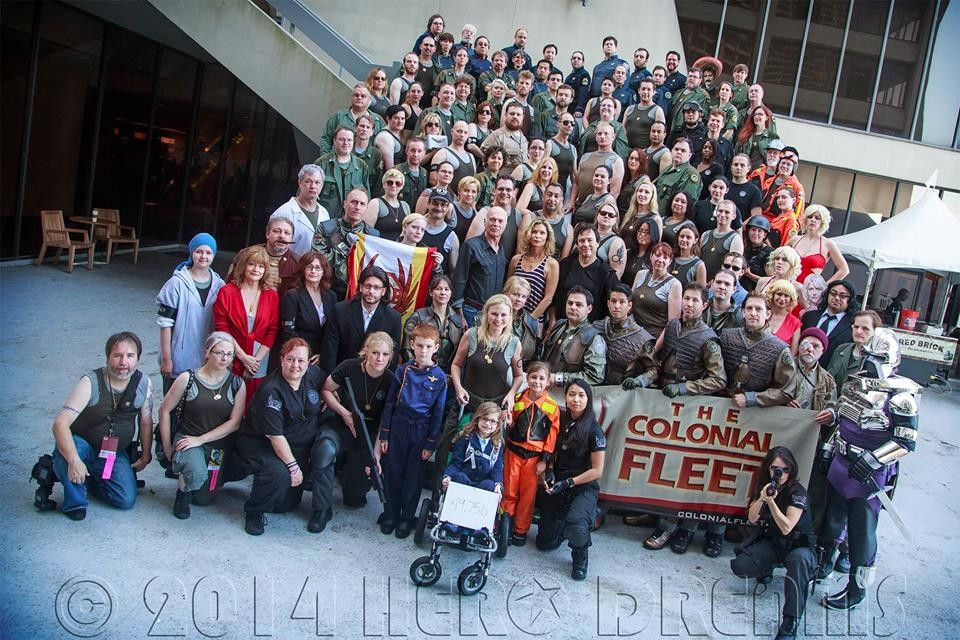 Shot by Troy Nelson, Dragon Con 2014, gathering of the Colonial Fleet. If you look in the center of the mob, you can see Michael Hogan, Kate Vernon, and Richard.