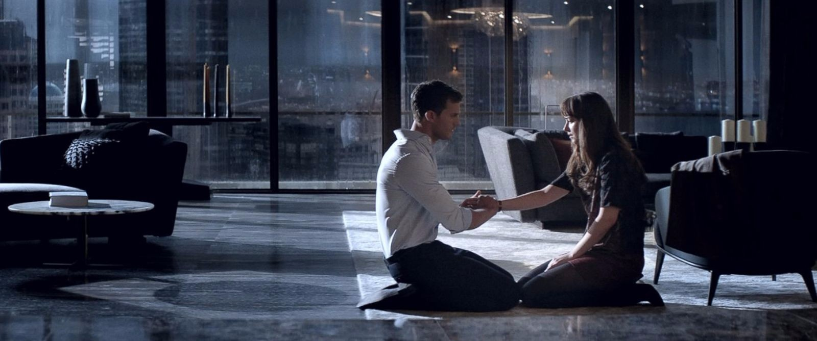 Christian begs Ana to stay with him, to not leave him alone with his thoughts.